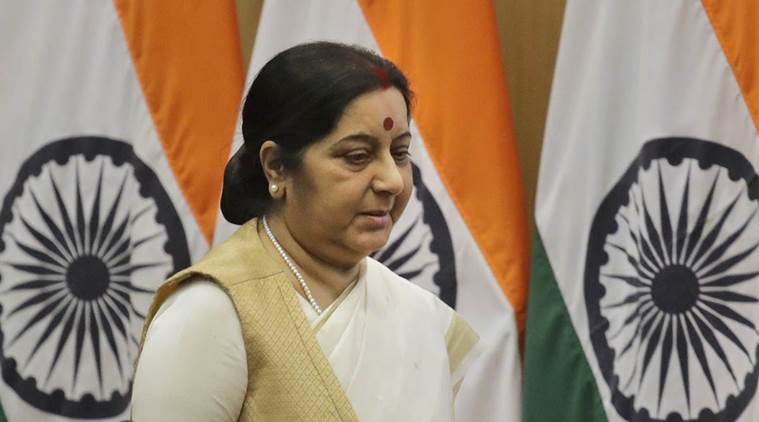 Indian External Affairs Minister Sushma Swaraj, arrives to address a press conference on completion of three years of government in New Delhi, India, Monday, June 5, 2017. (AP Photo/Manish Swarup)