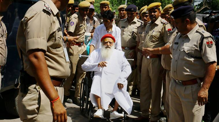 Asaram Bapu on wheel chair at the Jodhpur airport