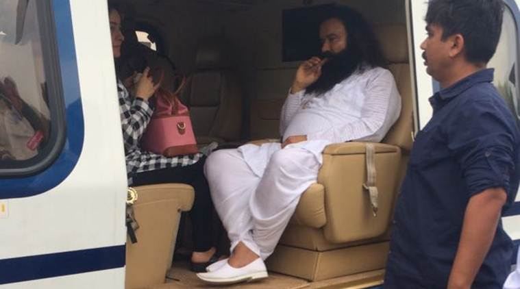 Dera Saccha Sauda leader, Gurmeet Ram Rahim Singh Ji Insaan, accused of Dual Rape, being shifted to Rohtak Jail, by Helicopter from Panchkula, on Friday, August 25, 2017. Express photo.