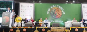 The Union Minister for Agriculture and Farmers Welfare, Shri Radha Mohan Singh addressing at the inauguration of the 19th Organic World Congress 2017, at Greater Noida, Uttar Pradesh on November 09, 2017. The Chief Minister of Sikkim, Shri Pawan Kumar Chamling, the Agriculture Minister of Uttar Pradesh, Shri Surya Pratap Shahi and other dignitaries are also seen.
